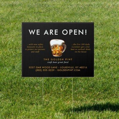 Beer Mug Logo Brewery Bar Business Reopening Sign