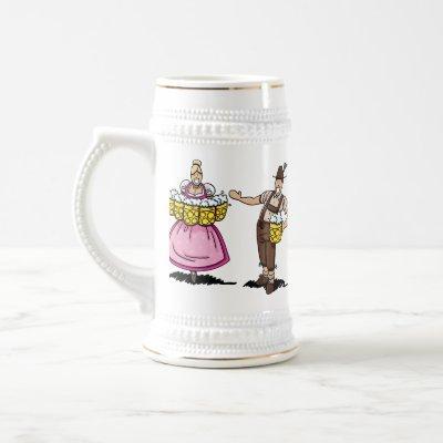 Beer Mug Oktoberfest Waitress and Lederhosen Man