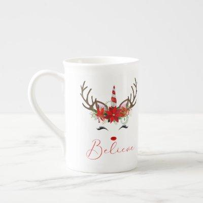Believe Red & White Poinsettia Reindeer Unicorn Bone China Mug