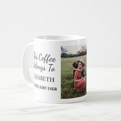 Best Aunt Ever Personalized Photo Coffee Mug