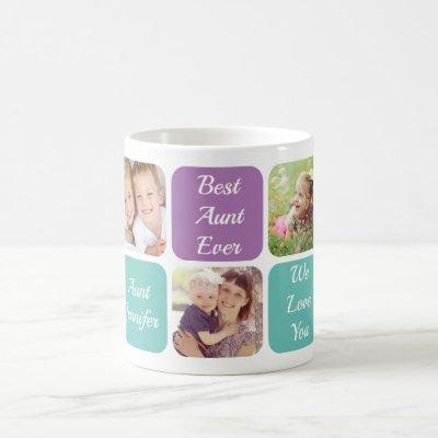 Best Aunt Ever Personalized Photos Purple Teal Coffee Mug