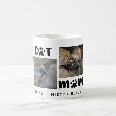 BEST CAT MOM EVER Photo Collage Personalized Coffee Mug