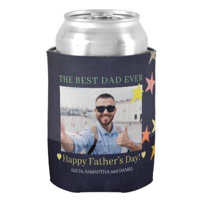Best dad ever custom photo Father's Day modern Can Cooler