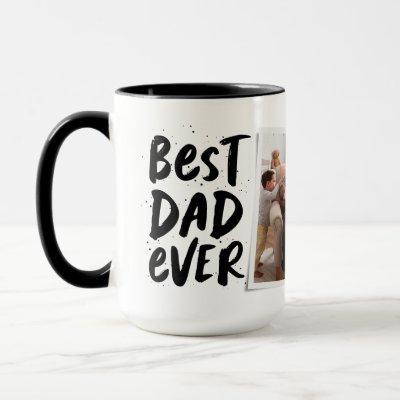 Best dad ever modern photo black Father's Day Mug