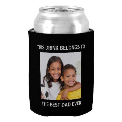 Best Dad Ever Personalized Photo Black Can Cooler