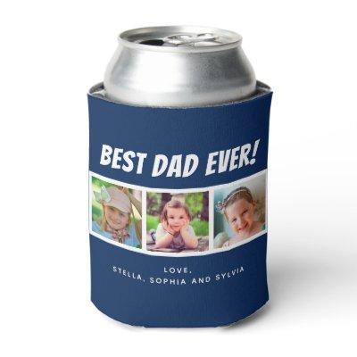 Best Dad Ever | Three Photos Dark Blue Can Cooler