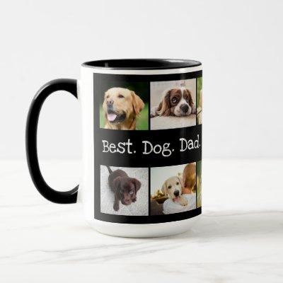 Best Dog Dad Ever Photo Collage in Black and White Mug