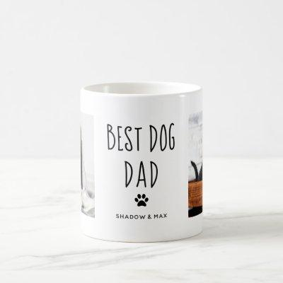 Best Dog Dad | Two Photo Handwritten Text Coffee Mug