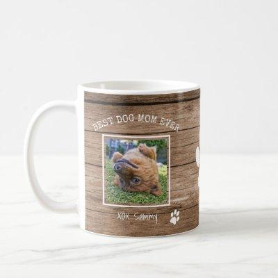 Best Dog Mom Ever Instagram Photo & Paw Print Coffee Mug