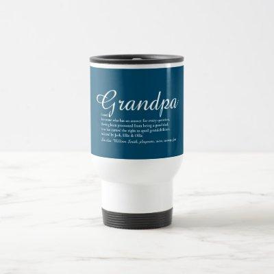 Best Ever Grandpa, Grandad Definition Script Blue Travel Mug