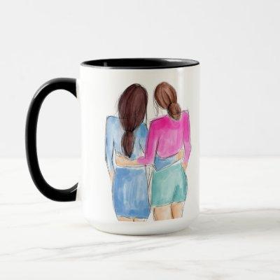 Best Friend Gift Two brunette girls watercolor Mug