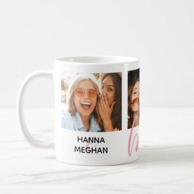 Best friends custom photo pink besties coffee mug