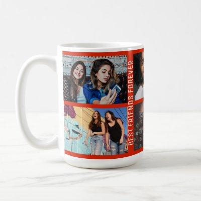 Best Friends Forever 6 Photo Custom Collage Red Coffee Mug