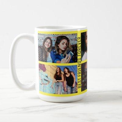 Best Friends Forever 6 Photo Custom Collage Yellow Coffee Mug