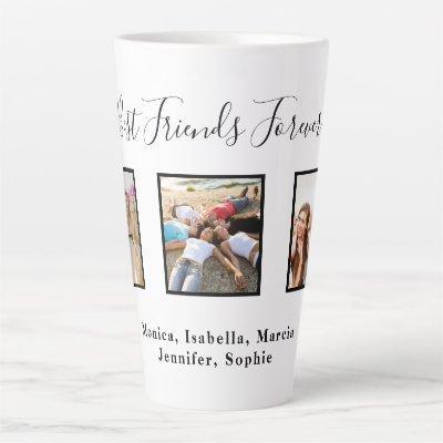 Best friends forever custom photo names white chic latte mug