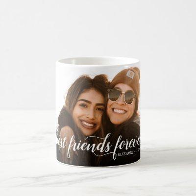 Best Friends Forever Photo Elegant Modern Script Coffee Mug