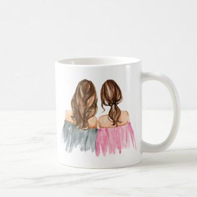 Best Friends Gift Mug Two Brunette Girls