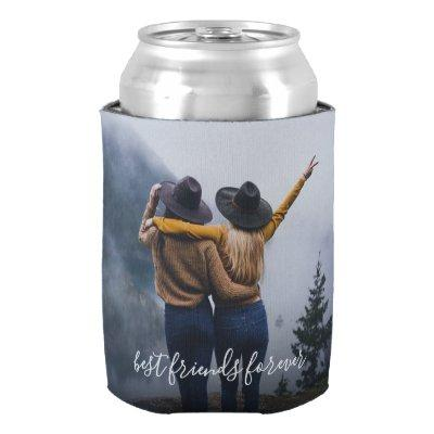 Best Friends Photo and Monogram Can Cooler