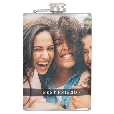 Best Friends Photo and Monogram Flask