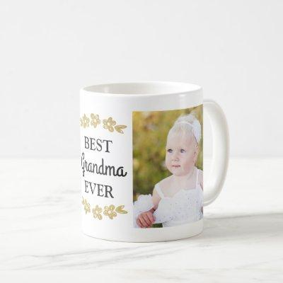 Best Grandma Ever Gold Flowers Custom Photo Coffee Mug
