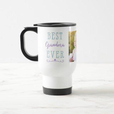 Best Grandma Ever Purple Teal Custom Photo Travel Mug