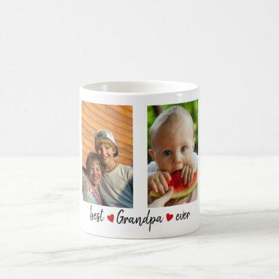 Best Grandpa Ever 4 Photo Custom Coffee Mug