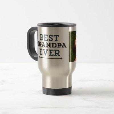Best Grandpa Ever Arrow Custom Photo Travel Mug