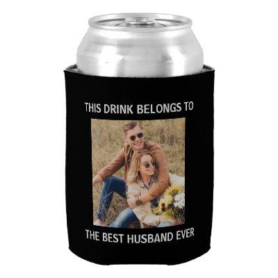Best Husband Ever Personalized Photo Black Can Cooler