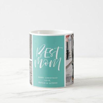Best Mom Teal Three Photo Collage Coffee Mug