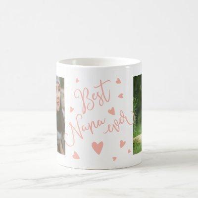 Best nana ever pastel pink hearts 2 photos collage coffee mug