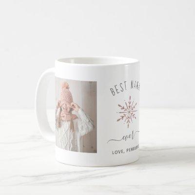 Best Nana Ever | Two Photo and Rose Gold Snowflake Coffee Mug