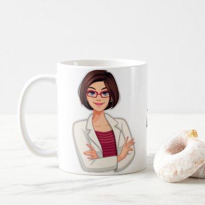 Best Personalized Cute Doctor, Brunette Female Coffee Mug