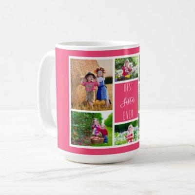 Best Sister Ever Pink Photo Collage Coffee Mug