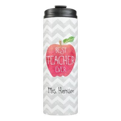Best Teacher Ever Apple Watercolor Personalized Thermal Tumbler