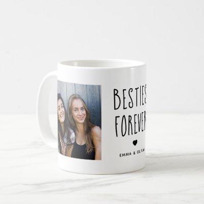 Besties Forever | Two Photo Handwritten Text Coffee Mug