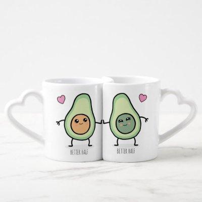 Better Half Kawaii Avocado Couples Coffee Mug Set
