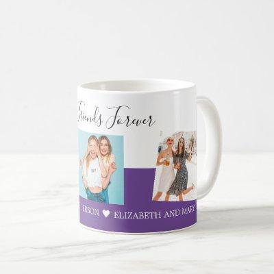 BFF Photo Collage Best Friends Custom Gift Purple Coffee Mug