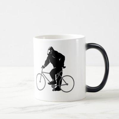 Bigfoot  riding bicycle magic mug