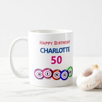 Bingo Birthday 50th Milestone Bingo Balls Coffee Mug