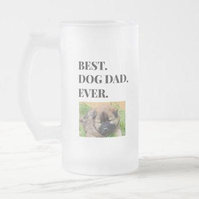 Birthday Best Dog Dad Ever Photo Frosted Glass Beer Mug