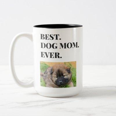 Birthday Best Dog Mom Ever Pet Photo Two-Tone Coffee Mug