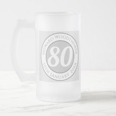 Birthday Commemoration with Name, Age, & Date Frosted Glass Beer Mug