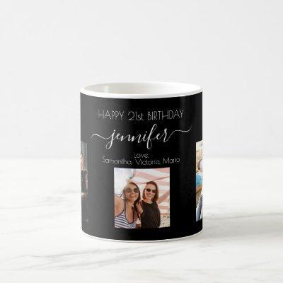 Birthday custom photo friends black chic coffee mug