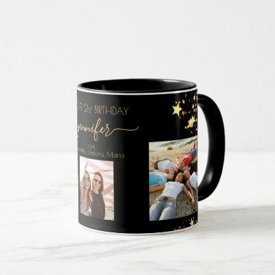 Birthday custom photo friends black gold stars mug