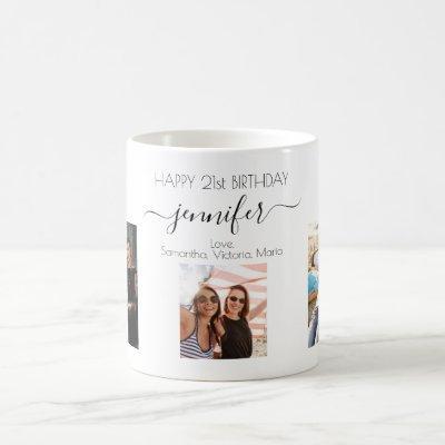 Birthday custom photo friends black white chic coffee mug