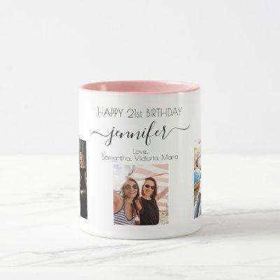 Birthday custom photo friends black white chic mug