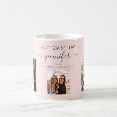 Birthday custom photo friends blush pink chic coffee mug