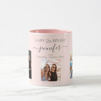 Birthday custom photo friends blush pink chic mug