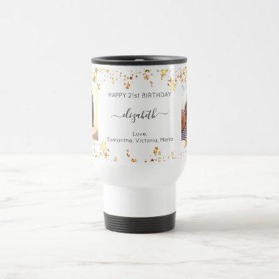 Birthday custom photo white gold friends luxury travel mug