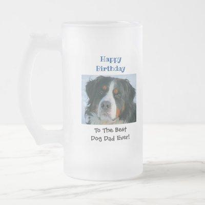 Birthday Dog Dad World's Best Ever Pet Photo Frosted Glass Beer Mug